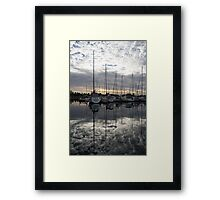 Silvery Boat Reflections - the Marina and the Pearly Clouds Framed Print