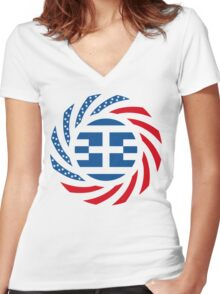 Greek American Multinational Patriot Flag Series Women's Fitted V-Neck T-Shirt