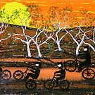 """Ned Kelly Gang riding up a storm"" Original Australian Acrylic Painting; SOLD by EJCairns"
