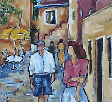Street scene in Rovinj, Croatia. Acrylic on canvas by Marie Theron