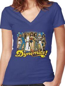 SuperWomen of the 70s - DyNoMite! Women's Fitted V-Neck T-Shirt