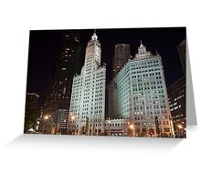 Chicago's Wrigley Building at Night Greeting Card