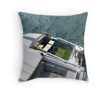 An strangely fitted out boat! Throw Pillow