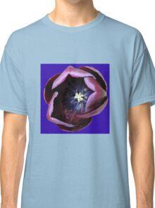 Dark Tulip Macro on Royal Blue Background Classic T-Shirt