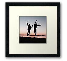 Cockles Sunset Jump Framed Print
