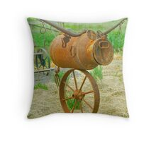 Cow on a Wheel Box Throw Pillow