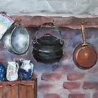 Fireplace still life at Lelieblom Farm by Marie Theron