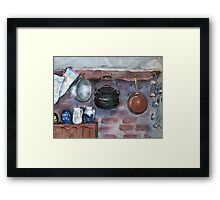 Fireplace still life at Lelieblom Farm Framed Print