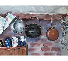 Fireplace still life at Lelieblom Farm Photographic Print