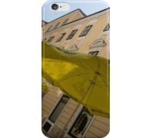 Vienna Street Life - Cheery Yellow Umbrellas at an Outdoor Cafe iPhone Case/Skin