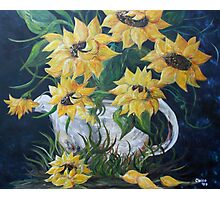Sunflowers in a Country Pot Photographic Print