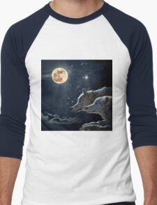 Wolves in the Moonlight Men's Baseball ¾ T-Shirt