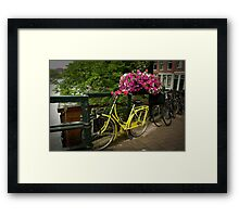 Yellow bike and pink flowers Framed Print