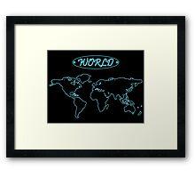 Blue neon world map against black Framed Print