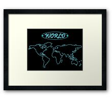 Blue neon world map against black Framed Print