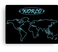Blue neon world map against black Canvas Print