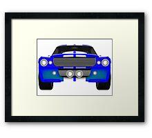 Blue sport car front Framed Print