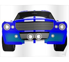 Blue sport car front Poster