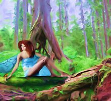 Hey look - a fairy - there sitting on that log! by Shelley Bain