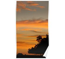 Sunset sky and trees in silhouette Poster