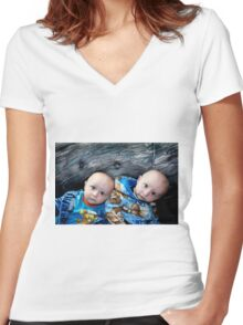 Twins!!! Women's Fitted V-Neck T-Shirt