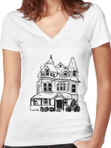 Grand Old Victorian House Women's Fitted V-Neck T-Shirt