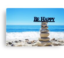 "Sign ""Be Happy"" on balanced rocks Canvas Print"