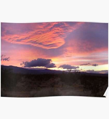 Beautiful Pink Desert Sunset Poster