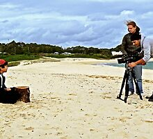 Child Actor Cinematographer Director and Camera on the Beach by Raoul Isidro