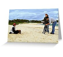 Child Actor Cinematographer Director and Camera on the Beach Greeting Card