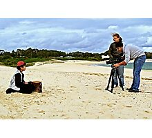 Child Actor Cinematographer Director and Camera on the Beach Photographic Print