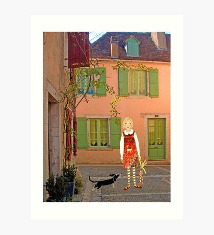 """Meg, bongo and bunny""Streetscape in France. Art Print"