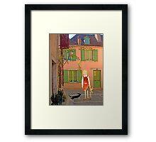 """Meg, bongo and bunny""Streetscape in France. Framed Print"