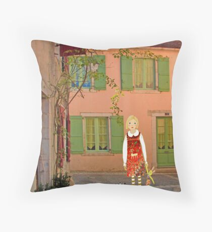 """Meg, bongo and bunny""Streetscape in France. Throw Pillow"
