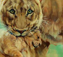 Lioness And Cub Sticker