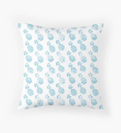 Grunge blue pineapples Throw Pillow