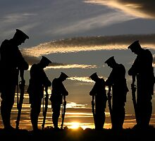 Silhouette of soldiers against a peacfull sunset by AlanAtRedBubble