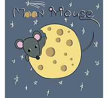Mouse gnaws the moon made of cheese Photographic Print