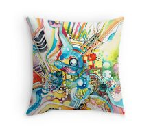 Unlimited Curiosity - Watercolor and Felt Pen Throw Pillow