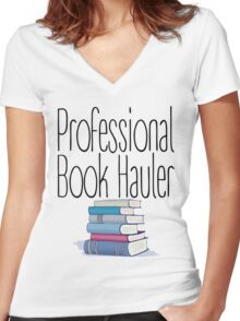 Professional Book Hauler Women's Fitted V-Neck T-Shirt