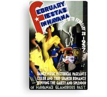 Havana Vintage Travel Poster Restored Canvas Print