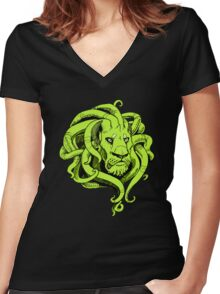Octopus Lion Women's Fitted V-Neck T-Shirt