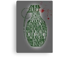 Grenade Typography Canvas Print