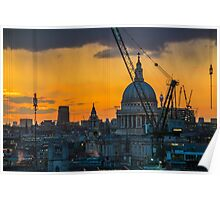 Sunset over St Paul's Cathedral with cranes Poster