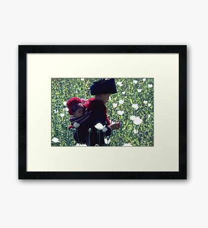 Mien woman and baby slitting opium poppy Framed Print