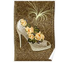 ✰* ★ GOLDEN GLITTER HIGH HEEL WITH ROSES ~♥~˚ ✰* ★ Poster