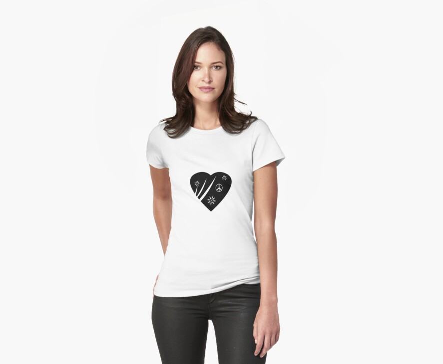 Peaceful Heart Symbol T Shirt by simpsonvisuals