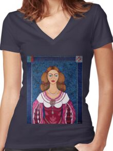 Ines de Castro - The love crowned Women's Fitted V-Neck T-Shirt