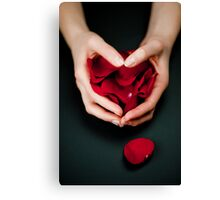 Happy Valentines - Hands and Rose Petals Canvas Print