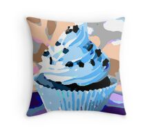 Chocolate Cupcakes with Blue Buttercream Throw Pillow